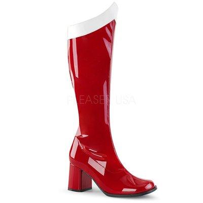 Shoes InStyle《三吋》美國品牌 FUNTASMA 原廠正品漆皮方頭中長馬靴 有大尺碼『紅白色』