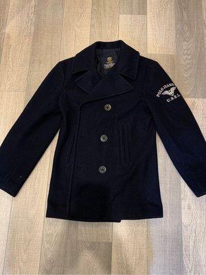 海軍大亂鬥 POLO JEANS 海軍雙排扣羊毛大衣 S號