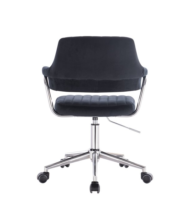 [ 椅子王  ] -----奢華風黑絲絨復古車縫 辦公椅