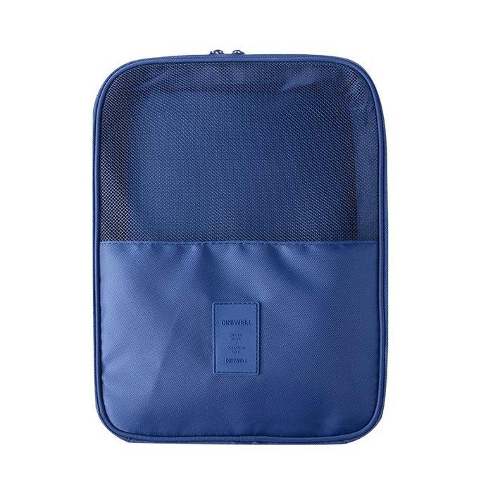 【杰元生活館】深藍 DINIWELL新款斜紋防水加大可掛行李箱旅行用衣物鞋子袋收納用雙層三位鞋包