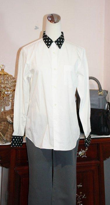 海洋工坊名牌旗艦店~Comme de Garcons SHIRT~黑領白點長袖襯衫
