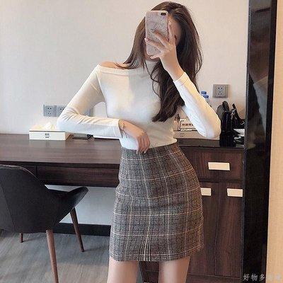 好物多商城 秋裝新款掛脖露肩針織衫上衣+毛呢格子半身裙套裝兩件套女裝