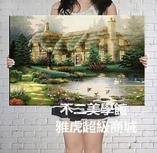 【格倫雅】^小草屋 客廳現代無框掛裝飾畫油畫山水畫風景畫國畫76464[g-l-y36