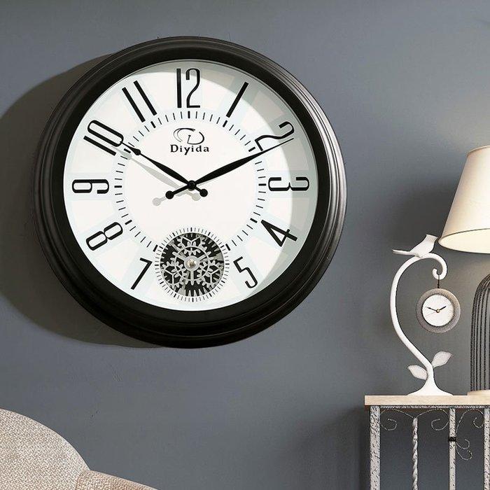 美式鐘表創意掛鐘靜音客廳現代簡約時尚大氣時鐘復古掛表家用掛墻