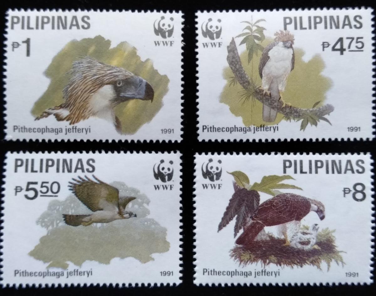 WWF(W158)菲律賓鷹隼熊貓麥保育鳥類郵票1991年限量發行全新特價