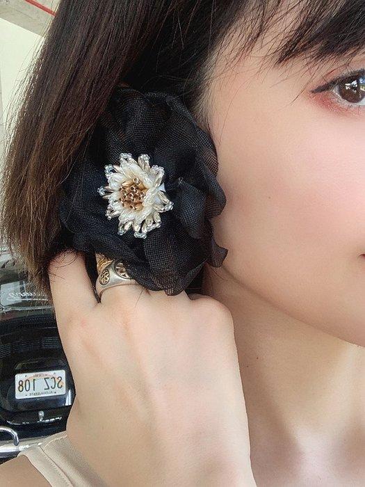 【鈷藍家】原創設計獨特小眾配飾花朵耳環原創自制歐美花朵耳釘百搭耳夾手工千層大麗花耳飾耳環RU