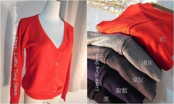 Little Ting Store:親肌柔感OL必備V領開釦素色針織外套(5色) 冷氣房罩衫小外套  超舒適