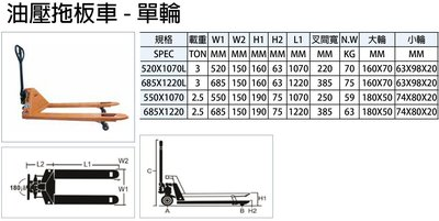 DINO 油壓拖板車 低型油壓拖板車 單輪 內有其它規格說明