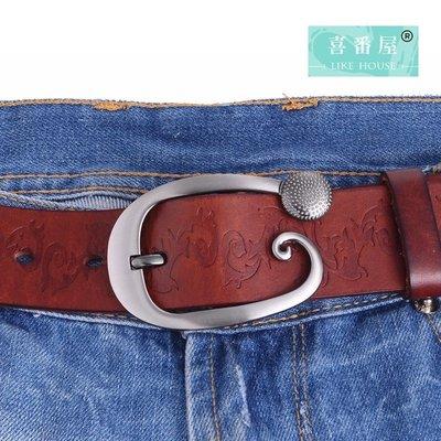 【喜番屋】真皮頭層牛皮復古壓花女士帶寬3.7CM皮帶腰帶褲帶【LL19】