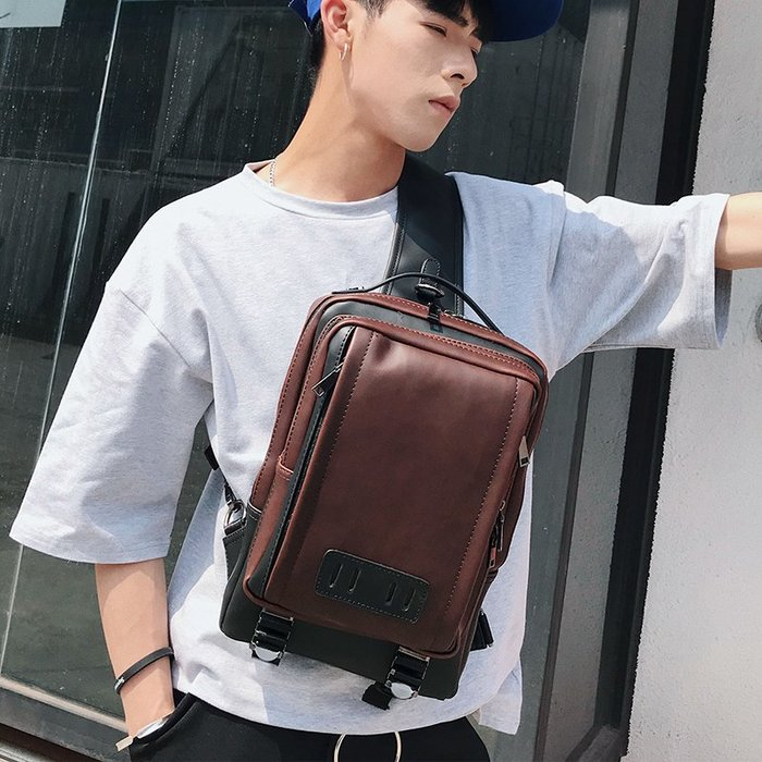 復古男包時尚韓版小包青年胸包新款側背包撞色小挎包大胸包小跨包 11NLD195