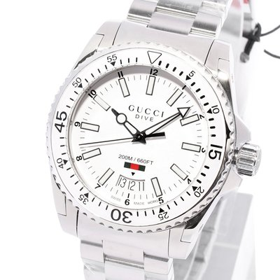 GUCCI YA136302 古馳 手錶 Dive 40mm 潛水錶風格 白面盤白錶圈 鋼錶帶 男錶女錶