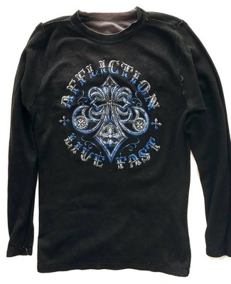 Affliction 長袖 T 恤 雙面穿 藍劍花骷顱 重機暗黑搖滾設計 黑色+灰色 M【 以靡正品】