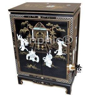 INPHIC-古典漆器 手繪貝雕雙門置物櫃邊櫃餐邊櫃