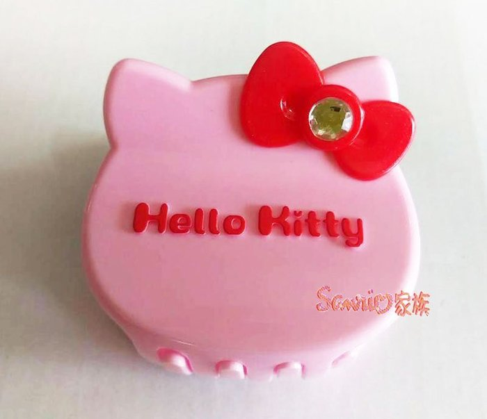 《東京家族》台灣製 Hello kitty 紅色蝴蝶結 粉色大頭造型髮夾髮飾鯊魚夾