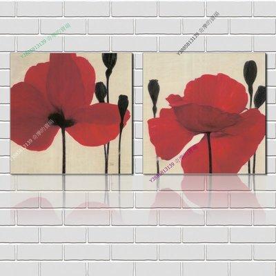 【60*60cm】【厚1.2cm】印象紅花-無框畫裝飾畫版畫客廳簡約家居餐廳臥室牆壁【280101_169】(1套價格)