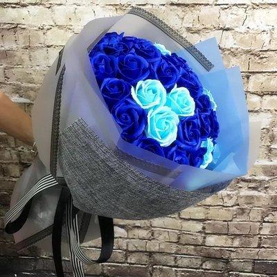 情人節禮物創意生日禮品婚禮手捧花送男女友愛人母親節禮物33支藍香皂花玫瑰花