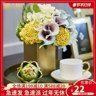 LIOU栗欧~金屬花器插花銅色花瓶仿真花客廳茶幾角幾裝飾擺件樣板房裝飾品