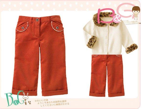 【B& G童裝】正品美國進口JANIE AND JACK刺繡花圖樣橘紅色燈芯絨長褲18-24mos