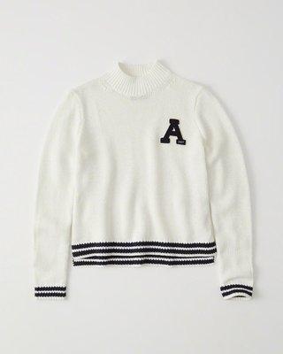 Maple麋鹿小舖 Abercrombie&Fitch * AF 白色大A貼布字母針織毛衣 * ( 現貨L號 )