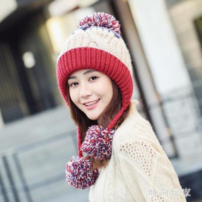 秋冬保暖拼色彩色毛球加絨護耳毛線帽小辮子針織帽子女士加厚防風 ys7605