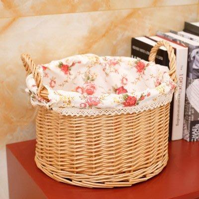 【愛麗絲生活家飾雜貨】zakka鄉村風柳編雙提手圓筒收納籃/置物籃