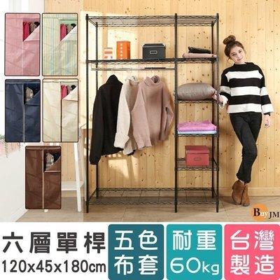 臥室 客廳【澄境R-DA-WA001BK 黑烤漆六層120x45x180單桿大衣櫥-附布套(布套五色可選)