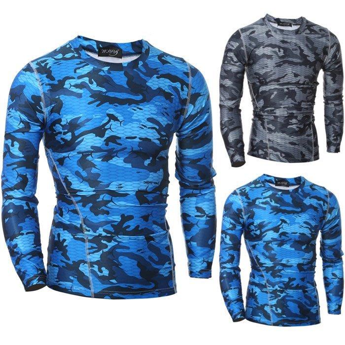 『潮范』 WS10 新款男士緊身T恤 長袖T恤 速幹衣 透氣運動T恤 迷彩圖案T恤NRB2768