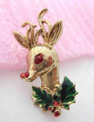 【戴大花2】Vintage飾品-  金色  可愛聖誕小鹿  紅眼睛紅鼻子   收藏款別針 #B473