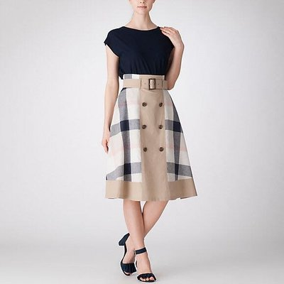 預購 日本限定 正版 Blue  Label crestbridge 雙材質 格紋 過膝裙 A字群