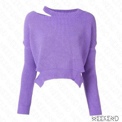 【WEEKEND】 PINKO 短版 切割 破壞 針織 長袖 毛衣 紫色