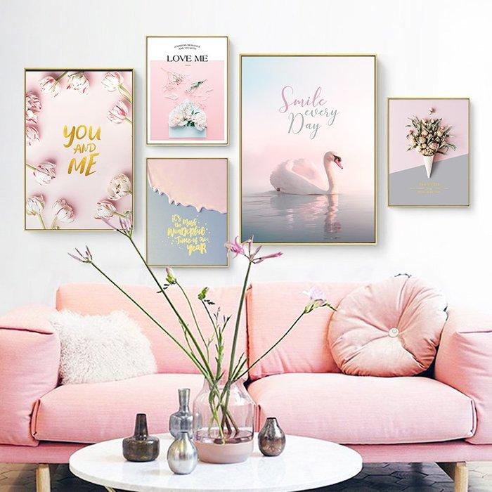 北歐現代小清新粉色花卉海景火烈鳥臥室裝飾畫芯高清微噴打印畫心(不含框)