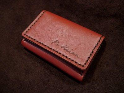 KH手工皮革工作室 MIT全牛皮訂製名片夾證件信用卡 名片盒證件包 厚度可放20~25張 磁釦名片盒 台中手工皮件 禮物