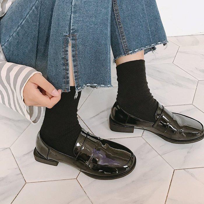 ☜男神閣☞鞋女2018春秋季新款低粗跟女鞋豆豆單鞋子圓頭學院風小皮鞋女