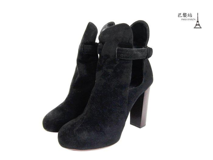 【巴黎站二手名牌專賣店】*現貨*CELINE 真品*黑色麂皮粗跟鞋 (37.5號)