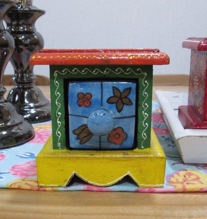 【肯萊柚木傢俱館】印度異國風情 油木手工採繪藍陶燒製一抽盒/收納盒(單只)  限量商品