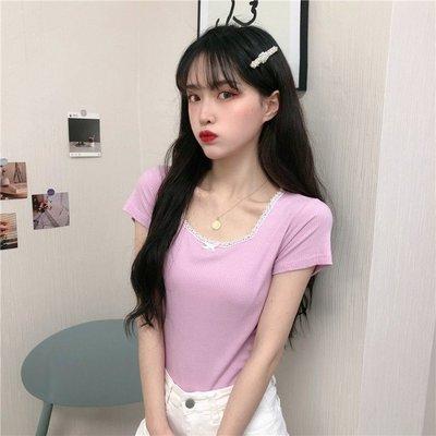 小香風 短袖T恤 時尚穿搭 少女復古蝴蝶結蕾絲短袖T恤 韓版 修身 顯瘦 上衣女裝