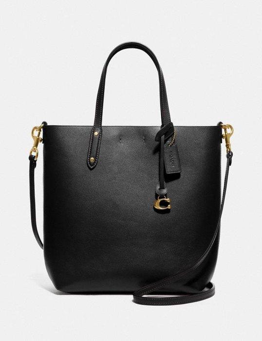 Coco小舖COACH 78217 central shopper tote 黑色皮革手提/斜背包