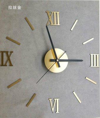 掛鐘 新品創意DIY鐘表立體客廳個性掛鐘裝飾牆貼數字羅馬鏡面金銀掛表   全館免運