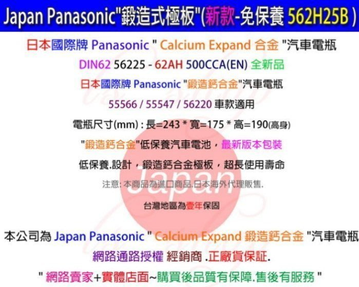 ☆電池達人☆國際牌 Panasonic (62AH) 電池適用 KIA BMW VOLVO AUDI 福斯 OPEL