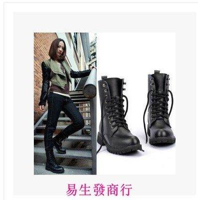 【易生發商行】秋冬馬丁靴女英倫平底軍靴短靴中筒機車靴黑色女靴騎士靴大F6121