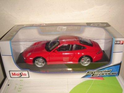 1風火輪多美Maisto出品1/18紅1:18合金車PORSCHE 911 Carrera S保時捷跑車八佰零一元起標