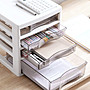 JEJ辦公室書桌面資料分類抽屜式收納盒置物架A4塑料文件柜子