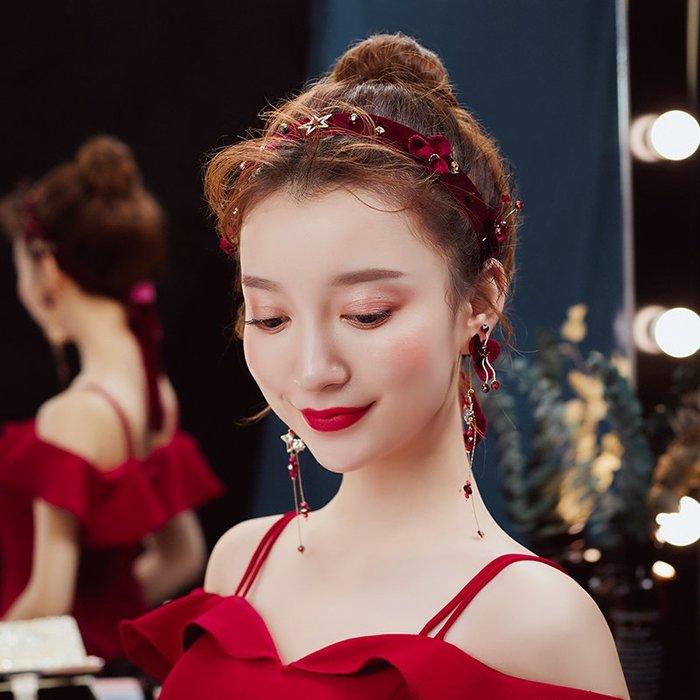解憂zakka~ 新娘頭飾發箍結婚飾品復古中式婚禮發帶超仙森系紅色敬酒服發飾女#頭飾#髮飾