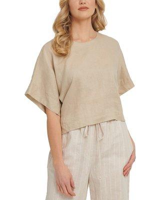 DKNY Dropped-Shoulder Linen Crop Top