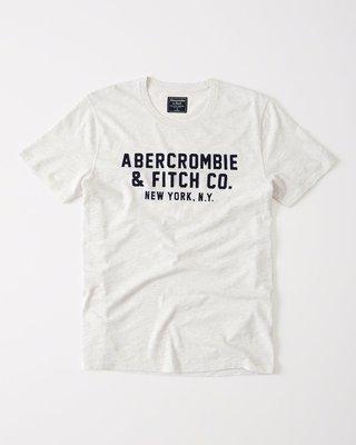 Maple麋鹿小舖 Abercrombie&Fitch *AF 淺灰白色電繡字母短T * ( 現貨M號 )