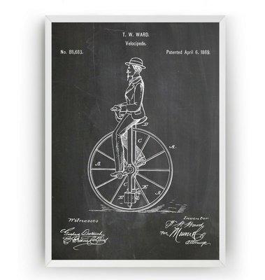 [復古藝術海報] - 1869年Velocipede單輪車 專利原型 交通運輸 運動 [美國PatentPrint授權]