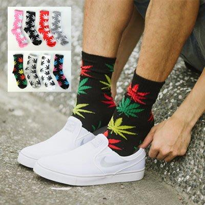 柒零年代【N9722J】潮流配色大麻葉長筒襪子