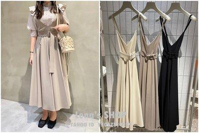 🌸Lenas通販⭐特價⭐2021年3月日本SNIDE三色甜美純色收腰寬腰帶V領吊帶細肩帶長洋裝