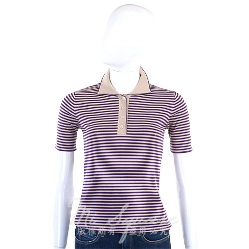米蘭廣場 [ NG大放送 ] FABIANA FILIPPI 紫駝色絲質條紋短袖POLO衫 0890038-04