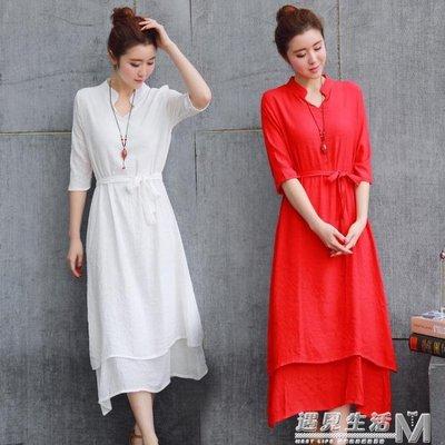 夏季新款紅色連身裙中國風純色中袖仙女森女中長裙度假沙灘裙潮-反斗樂園